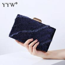YYW Blue Velour WomenS Bag Wedding Clutch Handbag Female 2019 Vintage Party Banquet Clutches Black Pink White Purse
