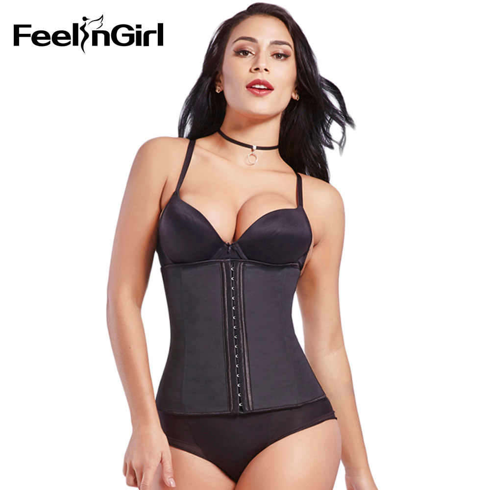 782519fa4b3 ... FeelinGirl Hook Zipper Rubber Latex Waist Trainer Sexy Corsets and Bustiers  Waist Cincher Corset Tops Slimming