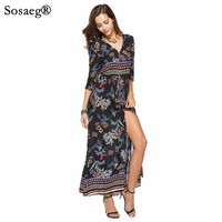 Sosaeg Women S New Style Party Dress Ankle Long Spring And Summer V Collar Waist Europe