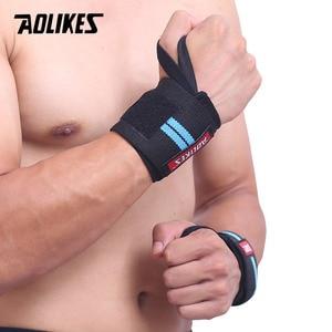 Image 4 - AOLIKES 1 זוג צמיד יד תמיכה משקל הרמה כושר אימון יד תמיכת Brace רצועות כורכת קרוספיט הרמת כוח