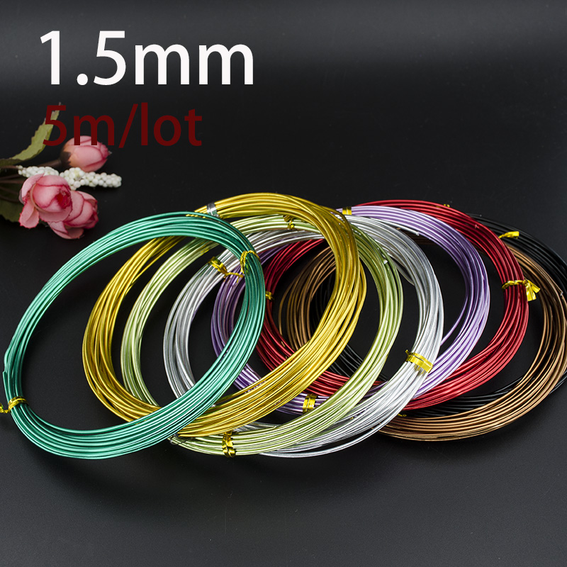 High Quality 1.5MM Anodized Aluminum Craft Wire Multi-optional Mixed Colors 5m/PCs Roll For Jewelry Making DIY Decoration New