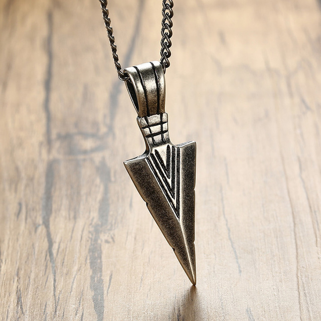 Men's Oxidized Stainless Steel Vintage Arrowhead Pendant Necklace