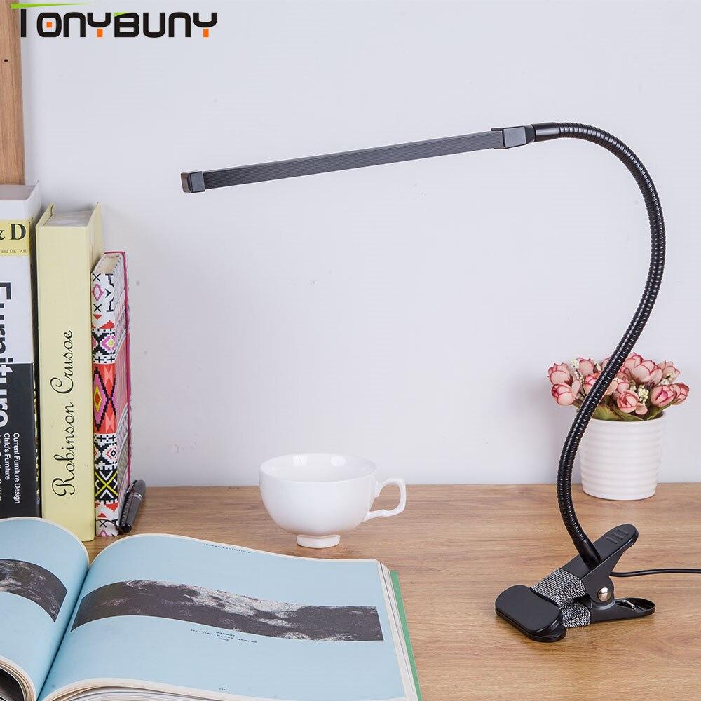 Schützen LED Tisch Lampe Studie Biegsamen Schreibtisch Lampe Clamp Clip Licht büro Dimmbare USB Touch Switch Control schreibtisch licht