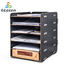 DIY Multi-function Desk File Holder Office Magazine Organizer Wooden Stationery basket wood grain Document Trays Glosen D9120