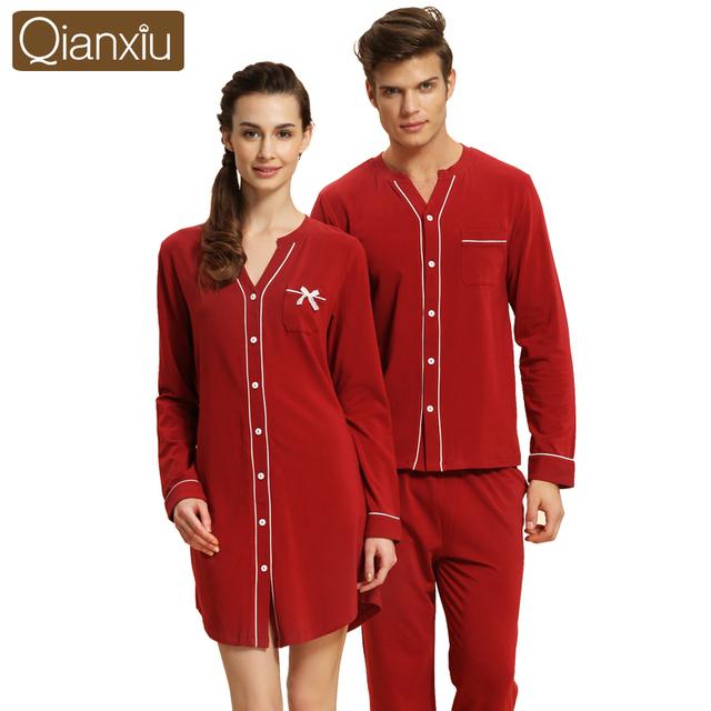 Qianxiu marca otoño par de pijamas de manga larga de las mujeres pijamas de algodón pijama de dormir de las señoras camisones salón camisa y pantalón