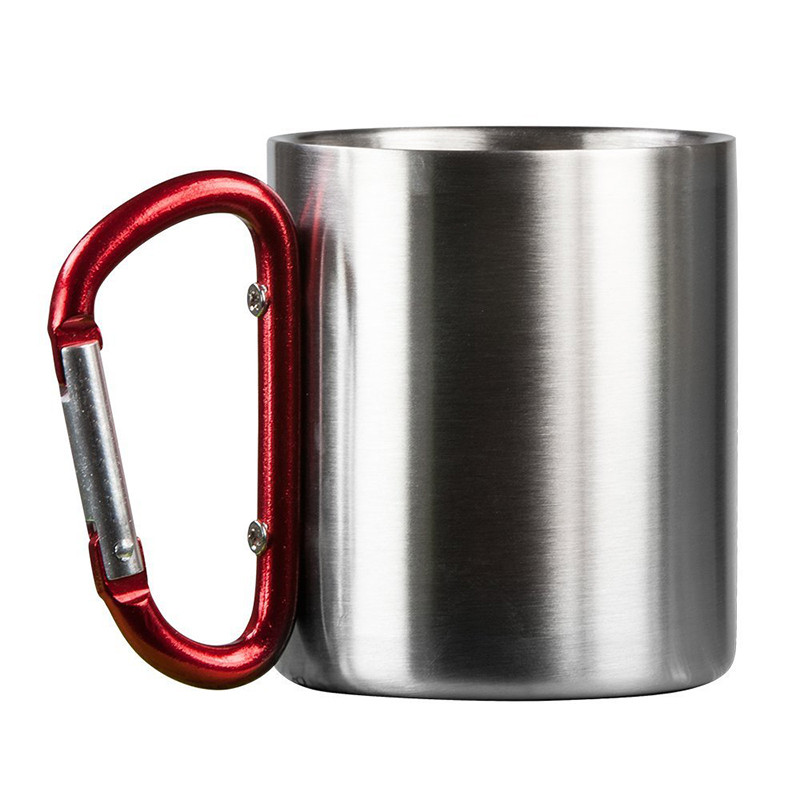 180ml Stainless Steel Cup Camping Hiking Climbing Travel Outdoor Cup Double Wall Mug W/ Carabiner Hook Handle Travel Tumbler Cup
