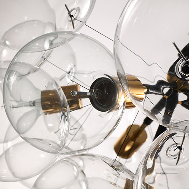 New Nordic Vintage Loft 9/12/18 Heads Bulbs DNA bubble glass ball pendant light fixture Magic Bean  bar cafe indoor lighting
