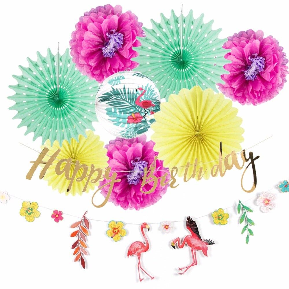 Hawaiian Party Decorations Happy Birthday Summer Tropical Flamingo
