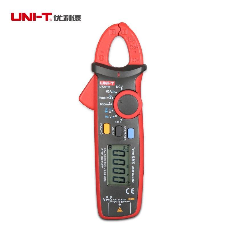 Uni-t UT211B 60A alta RMS verdadeiro digital de metros W / V.F.C. NCV teste pinza amperimetrica multimetro uni t ut323 termometro digital sensor de temperatura tester com alta baixa de alarme e a auto