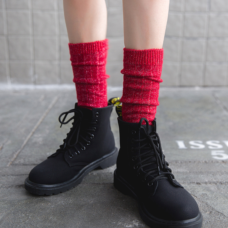 Winter Women Vintage Glitter Wool Long   Socks   Fashion Novelty Ladies Girls Bling Gold Silver Silk Warm Knee Knit   Sock