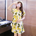 The new 2016 pregnant women dress Korea edition fashion loose big yards Printed short-sleeved summer maternity clothes P027