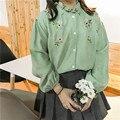 2017 Women Korean style autumn winter embroidery blouse print flower long sleeve shirts fashion casual loose shirt