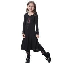 Arab Abaya Muslim Girls Dresses and Pants Islamic Children Bazin Kaftan Sets