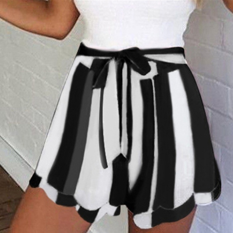 Women Fashion Lotus Leaf Edge Striped Shorts Casual High Waist Belted Drawstring Loose Short Feminino