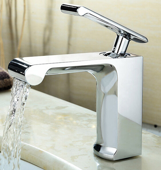 цена на New arrival Luxury waterfall faucet high quality cold and hot bathroom sink faucet gold  basin faucet,water tap mixer