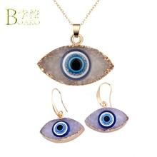 BOAKO Trendy Earings For women Evil Eye Earrings Turkish Big Pendant Earing Gold Statement Drop Earring Long arete Gift B5