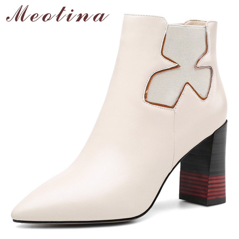 Meotina Winter Genuine Leather Ankle Boots Women Real Leather Chunky Heel Short Boots Extreme High Heel Shoes Female Fall 34 39