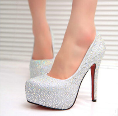 d8392602441d White and Red Sparkling Stiletto Ultra High Heels Pumps Rhinestone Bridal  Wedding Glitter Party Shoes