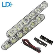 2 pcs Imperméable Blanc 6 Led Feux de jour DRL avec éteindre les lumières Lumineux Kit De Conduite Brouillard Lumière Lampe pour Universel voitures