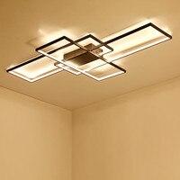 Rectangle Aluminum Modern Led ceiling lights for living room bedroom AC85 265V White/Black Ceiling Lamp Fixtures
