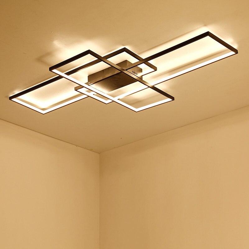 Rectangle En Aluminium Moderne Led plafonniers pour le salon chambre AC85-265V Blanc/Noir Plafond Lampe Appareils
