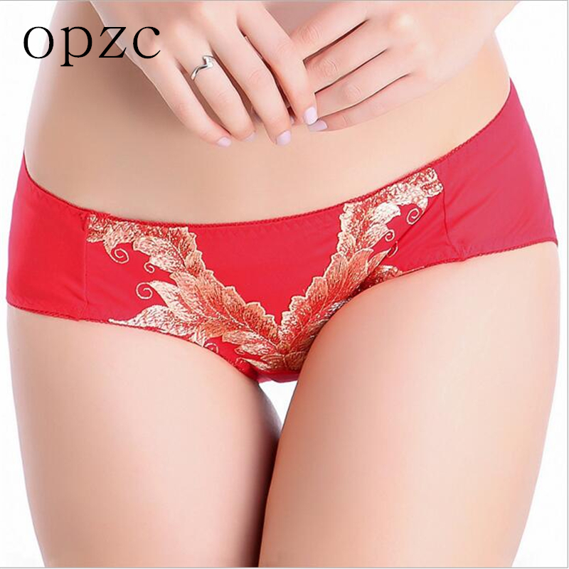 OPZC Low Rise Cotton Women's Briefs Chinese Style Embroidery Sexy Underwear Panties 2017 New Women's briefs Girls Panties