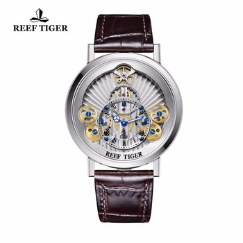 2021 Reef Tiger/RT Designer Skeleton Watches for Men Gear Wheel   Quartz Watches Leather Band RGA1958 1