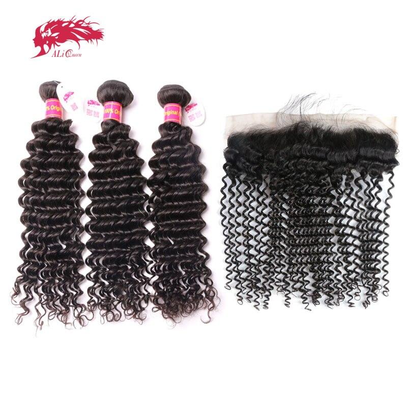 Ali Queen Hair Bundles With Frontal Deep Wave Brazilian Unprocessed Virgin Human 130% 13x4 Lace Closure Free Part Natural Color