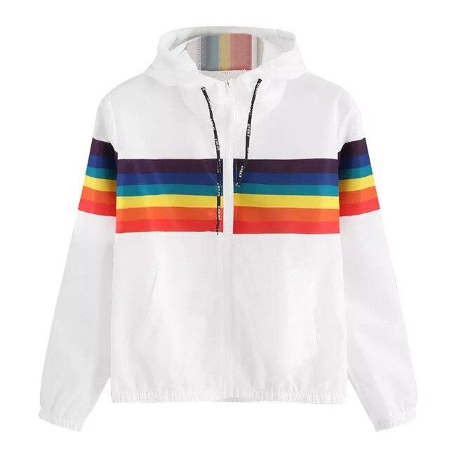 Womens Long Sleeve Rainbow Patchwork O Neck Sweatshirt Hooded Overcoat Blouse Coat Autumn Outwear Women