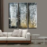 3 stuk/set 100% Hand Geschilderd Dikke zwart zilver abstract Olieverfschilderij Wall Art Picture Home Decoration voor Woonkamer Schilderij & Schoonschrift    -