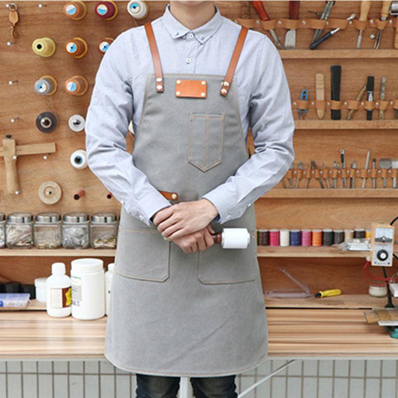 כחול גריי בד סינר סינר עור פרה רצועות - סחורה ביתית