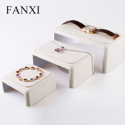 FANXI   Creamy white Linen Jewelry Display Holder Bracelet /Bangle/ Watch /Necklace Display Stand Organizer Showcase 3 pcs/set