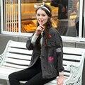 Женская Джинсовая Куртка Новый 2017 Женская Мода Джинсовая Куртка Джинсовая Дамы Случайные Голубой Прекрасный Жан Джинсовый Жакет Пальто Размер S-XL