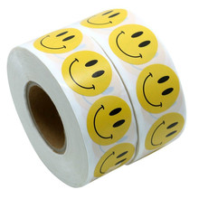 500pcs/lot Yellow Smiley Face Happy Stickers 1 Inch Round Circle Teacher Labels adhesive sticker stationery