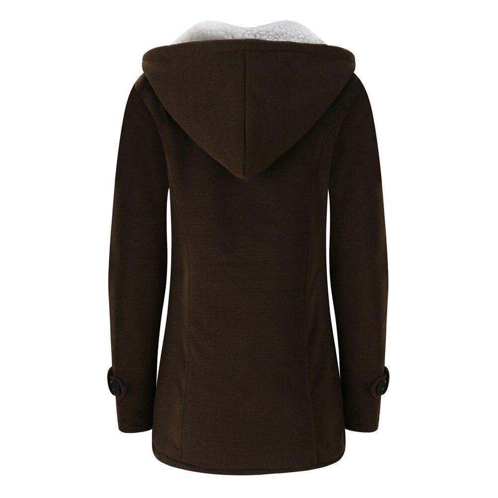 Jacket Coat Winter Women 2019 Hooded Wool Blend Praka Classic Horn Leather Buckle Coat Slim For Ladies Winter Jacket Woman Parka 11