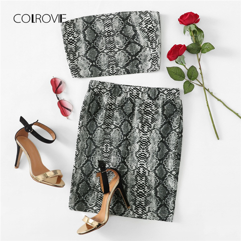COLROVIE Animal Snake Print Off The Shoulder Bandeau Streetwear Top And Skirt Suit Women Set 2018 Sleeveless Sexy Two Piece Set