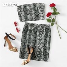 COLROVIE Animal Snake Print Off the Shoulder Bandeau Streetwear Top And Skirt Suit Women Set 2018