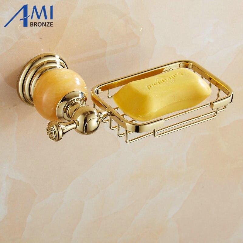 62 Jade Series Golden Polished Brass Jade Base Soap Dish Holder Soap Network Bathroom Accessories Soap Shelf toilet vanity