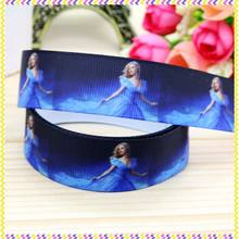 New 7/8'' Free shipping Cinderella printed grosgrain ribbon hair bow headwear party decoration wholesale OEM 22mm H3684(China)