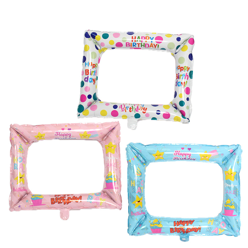 New Photo Frame Aluminium Foil balloons for Happy Birthday party kids toys ballon baby Party Photo booth Event baloon Supplies in Ballons Accessories from Home Garden
