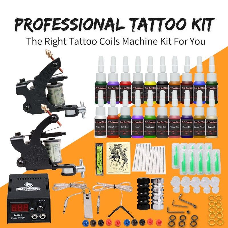 Equipo profesional de tatuaje 2 pistolas máquinas 20 juegos de tinta fuente de alimentación D175GD 8-in juegos de tatuaje from Belleza y salud    2