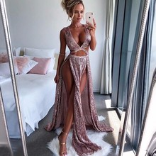 POFASH Luxury Sexy Long Sequin Evening Party Dress Pink Double V Neck Evening Gowns Sleeveless Prom Party Formal Dresses Maxi