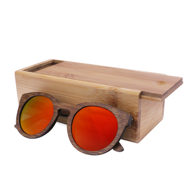 Free shipping Wood and Bamboo sunglasses with polarized lens in 2016