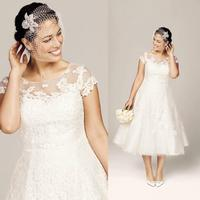 New Classic Wedding Dresses Beach Plus Size Bridal Gowns With A Line Sheer Neckline Lace Tea length Cap Sleeves ZY3244