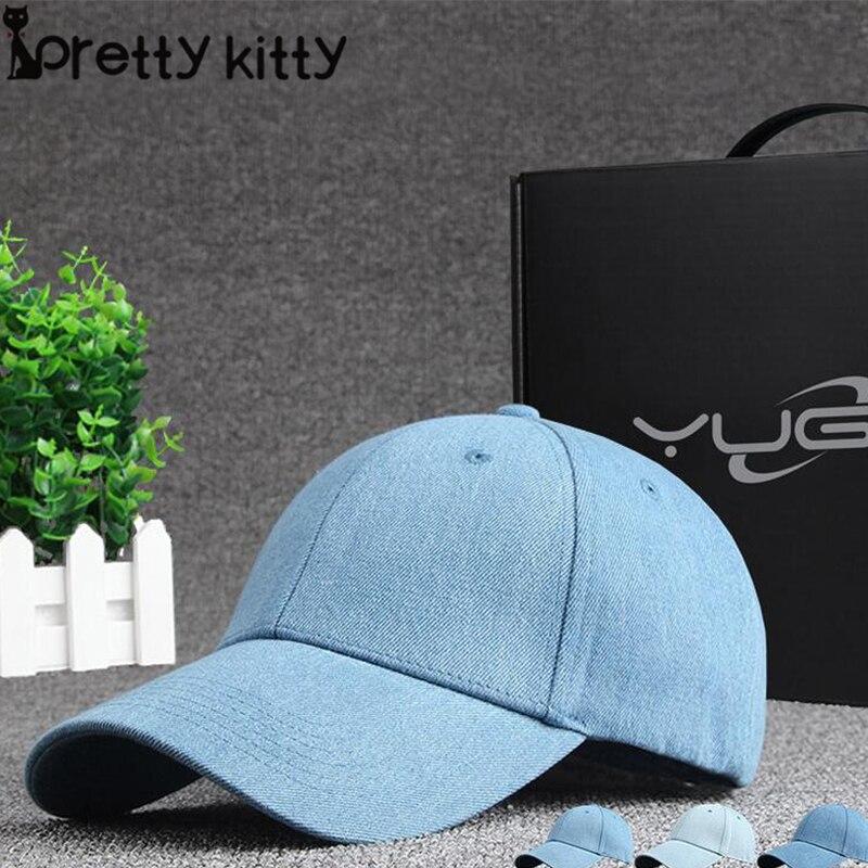 Prix pour JOLIE KITTY Neuf de Haute qualité Solide couleur cowboy denim unisexe femmes casquette de baseball hommes Chapeau snapback chapeau Solide couleur