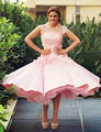 Elegant Beautiful Pink Ball Gown Lace Fowers Party Cocktail Dresses 2016 New Fashion Tea Length Prom Gowns robe de cocktail AC45