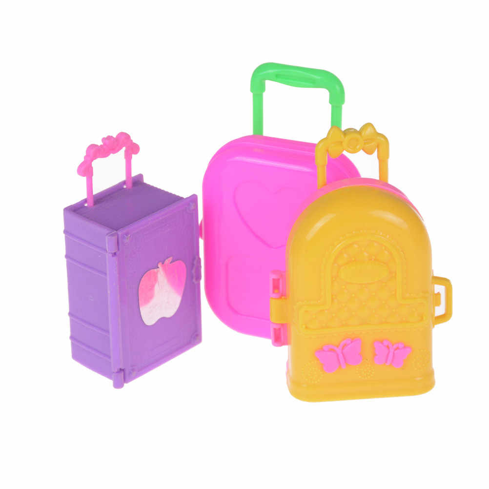 Cute Fashion Doll Accessories Plastic Furniture Kids Toys Play House 3D Travel Train Suitcase Luggage For   Doll Best Gift
