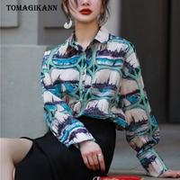 2018 Hawaii Style Streetwear Scenery Print Loose Women Blouse Shirts Feminine Vintage Turn Down Collar Long