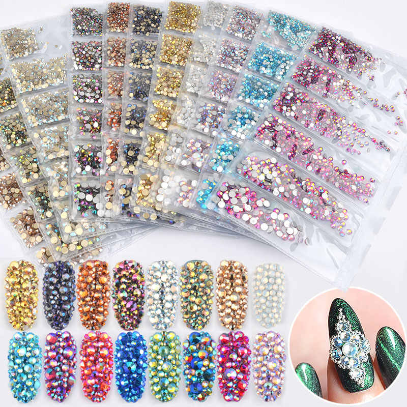 1ed35bd7a2 1 Pack Mixed SS4-SS16 Flatback Nail Rhinestones Crystal AB Colorful 3d  Glass Stones DIY Charm Gems Manicure Nail Art Decorations