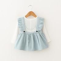 Infant Girls Dress Suit 2 Piece Tshirt Strap Children Spring Costume Baby Girl 1 Year Birthday